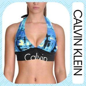 Calvin Klein Halter Tie Logo Bikini Top Cyan Blue